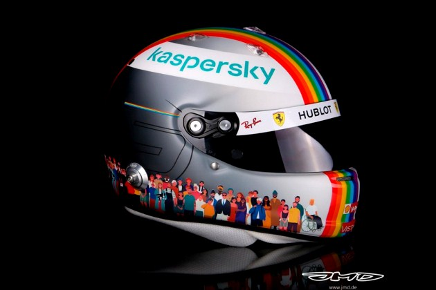 Sebastian Vettel apoya la iniciativa 'We Race As One' a través de su casco